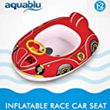 aquablu Inflatable Race Car Cool Summertime Swim Seat & Float Toy for Pool Beach Lake Bay & More Exciting Red Racer Steering Wheel & Solid Bottom for Toddlers Ages 1-2 Years