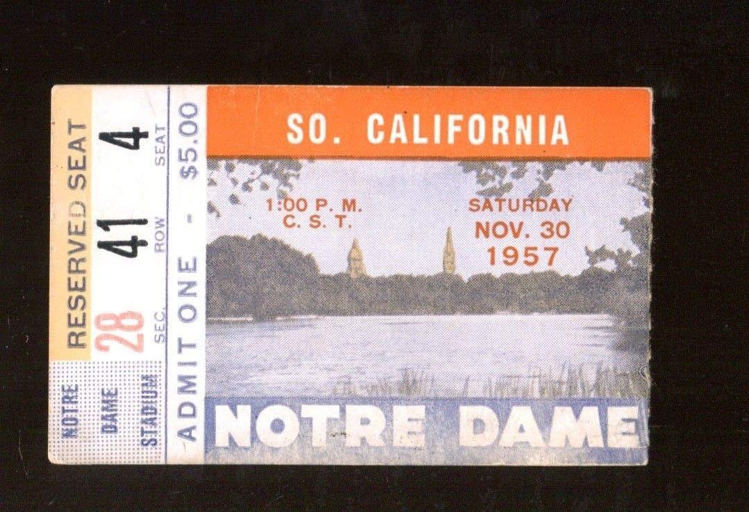 1957 Notre Dame v USC Trojans Football Ticket 11/30 Notre Dame Stadium 43399