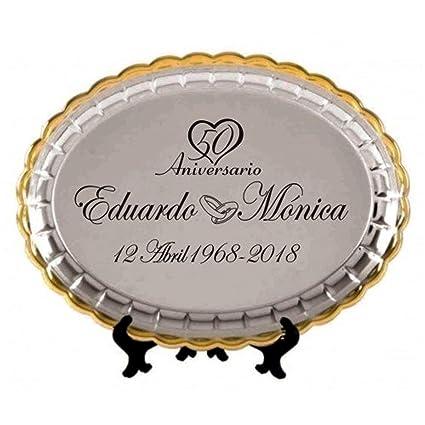 Regalo para bodas de oro bandeja grabada para 50 aniversario ...