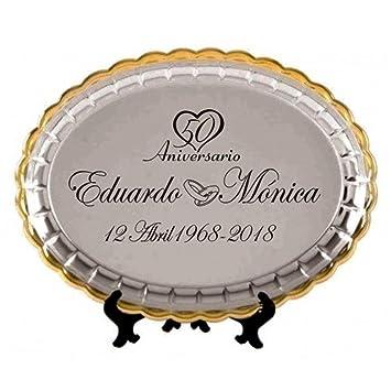 Regalo para bodas de oro bandeja grabada para 50 aniversario regalos PERSONALIZADOS con estuche BANDEJAS personalizadas