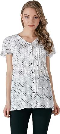 M.M.C. Blusa de Gasa con Estampado de Lunares en Color Blanco con Puntos Negros, Moda de Embarazo, Blusa para el Tiempo Libre para el Embarazo, Manga Corta: Amazon.es: Ropa y accesorios