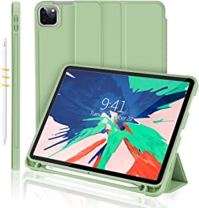 iMieet New iPad Pro 11 Case 2020 with Pencil Holder [Support iPad 2nd Pencil Charging/Pair],Trifold Stand Smart Case with Soft TPU Back,Auto Wake/Sleep (Matcha Green)