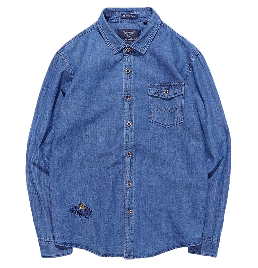Gocgt Mens Button Down Shirt Tops Fashion Denim Shirt Blouse Cotton Long-Sleeved Shirts
