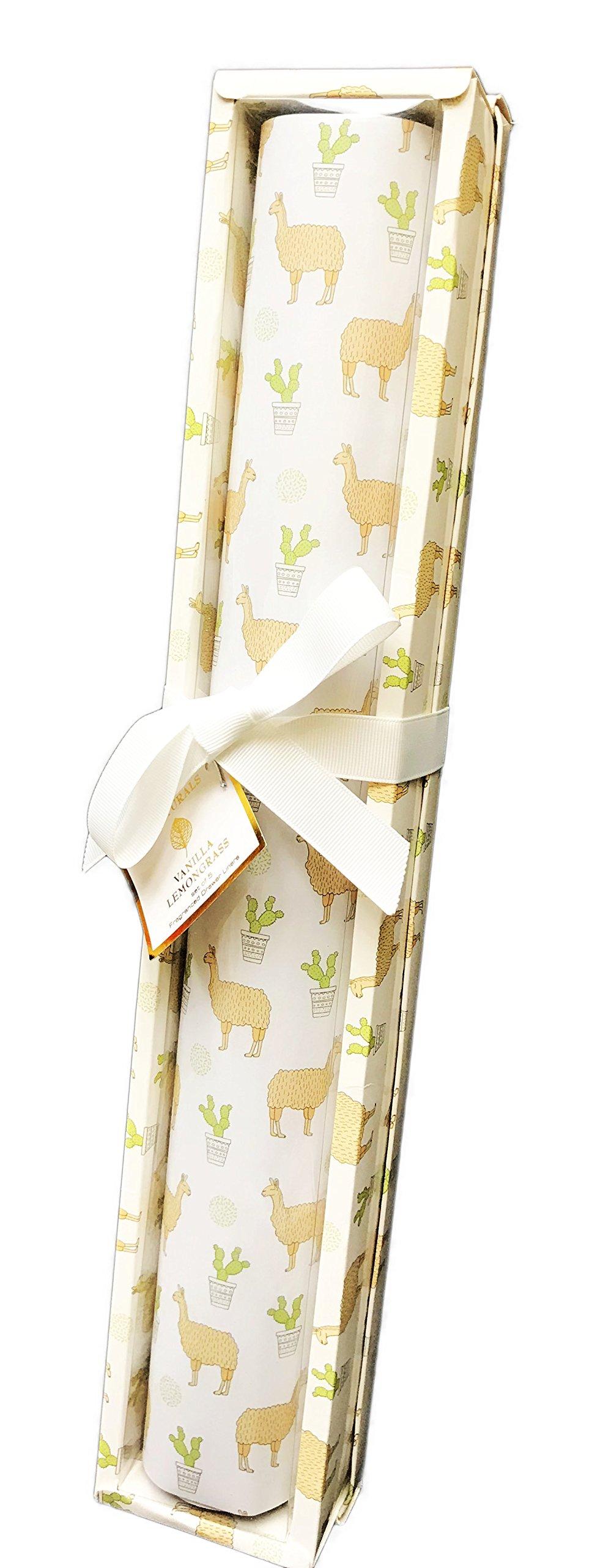 GC Naturals Whimsical Desert Llama's & Cacti Set of 5 Fragranced Drawer Liners (Vanilla Lemongrass)