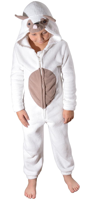 Womens Kids Tweens Full Length Fleece Hooded Pug Dog Onesie All in One Jumpsuit Girls Ladies, Cream, Ages 3-16, Adult XS-XL