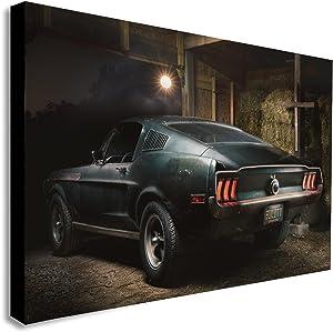 FAB CANVAS Steve McQueen Original 1968 Ford Mustang - Bullitt Movie - Canvas Wall Art Framed Print - Various Sizes (A1 32x24 inches)