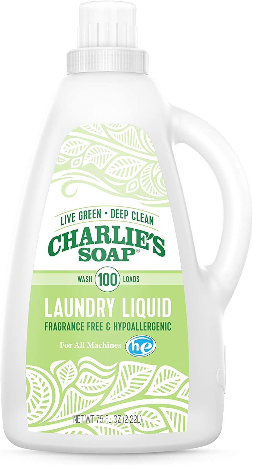 Charlie's Soap Laundry Liquid (100 Loads, 1 Pack) Natural Deep Cleaning Hypoallergenic Laundry Detergent – Safe, Effective and Non-Toxic