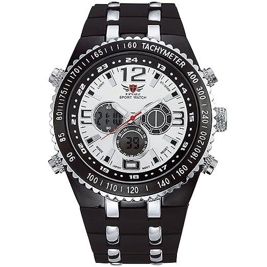Epozz para hombre relojes primera marca lujo FECHA cronógrafo de doble pantalla reloj militar hombres de cuarzo reloj de pulsera de goma: Amazon.es: Relojes