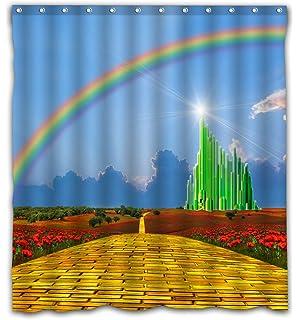Fatbon Green Design Wizard Shower Curtain Waterproof Polyester Fabric Art Decor For Bathroom 12 Holes 66x72
