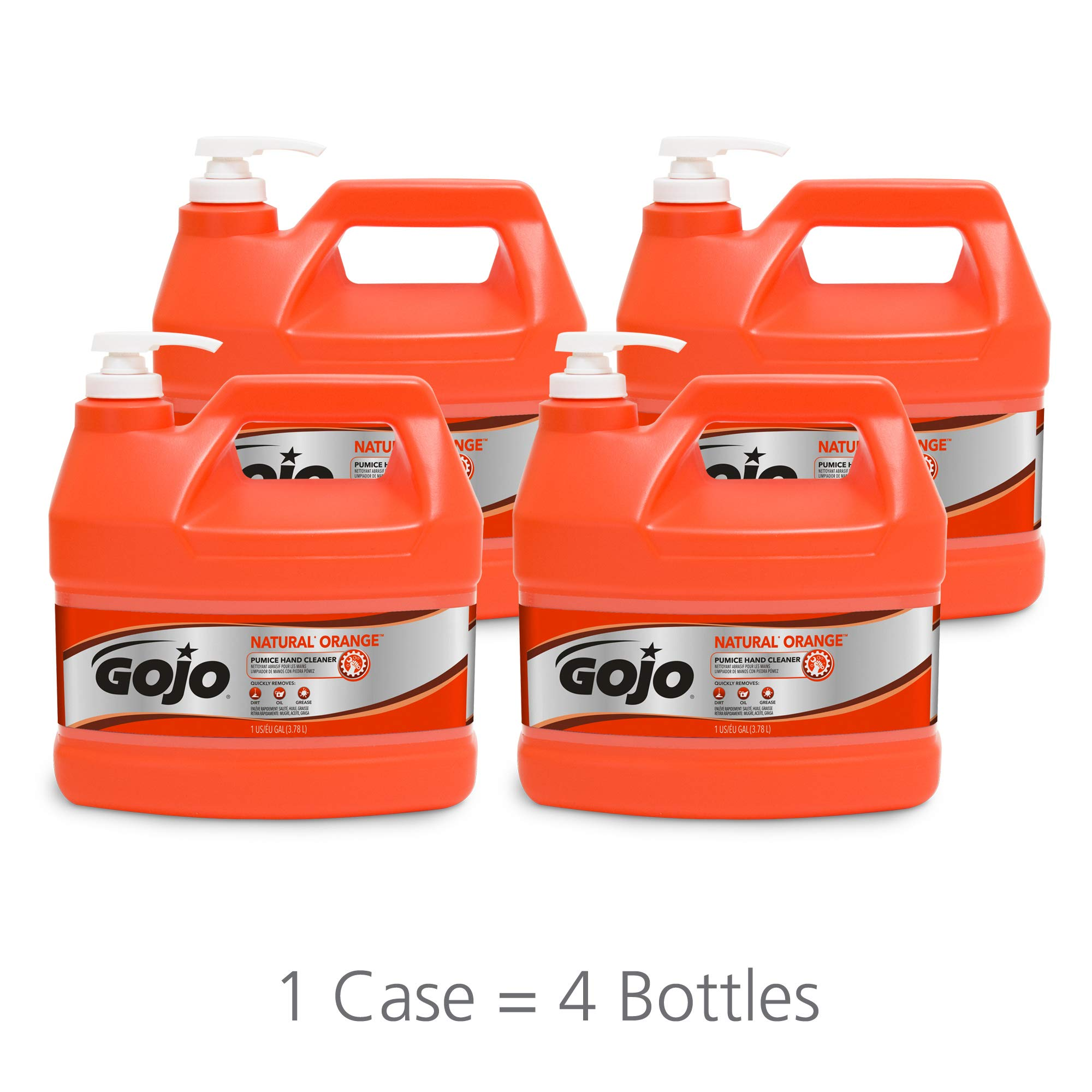 GOJO 0955-04 Natural Orange, Quick Acting Lotion Hand Cleaner with Pumice Pump Bottle, 1. gallons, 4 Pack by Gojo