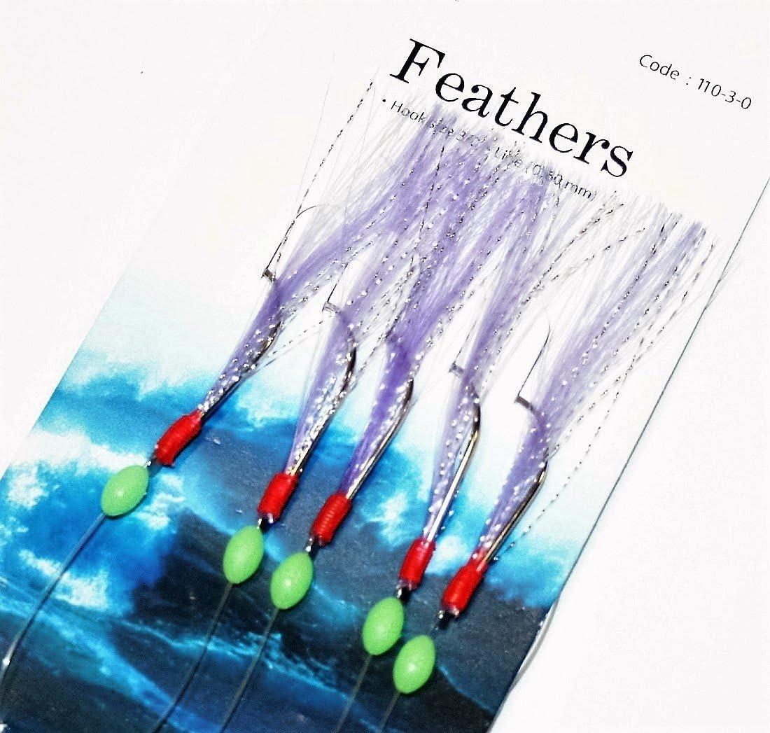 5 MULTI GLITTER RIGS 5 HOOK 1//0 BOAT PIER SEA FISHING MACKEREL FEATHERS LURES