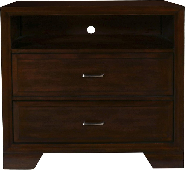 New Classic Furniture Garrett Bedroom Media Chest, Chestnut