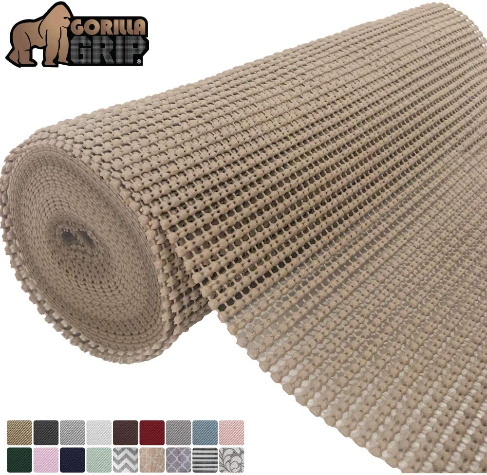 Gorilla Grip Original Drawer and Shelf Liner, Non Adhesive Roll, 20 Inch x 20 FT, Durable and Strong, Grip Liners for Drawers, Shelves, Cabinets, Storage, Kitchen and Desks, Beige