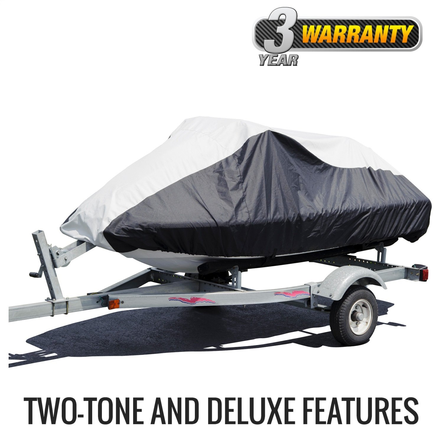 Budge Deluxe Jet Ski Cover Fits Jet Skis 116'' to 135'' Long, Black/Gray by Budge