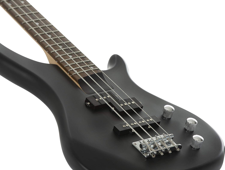 Guitarra eléctrica S1-Bass de Stretton Payne, cuello de arce, diapasón de madera de oscuro El paquete completo incluye un amplificador de práctica y ...