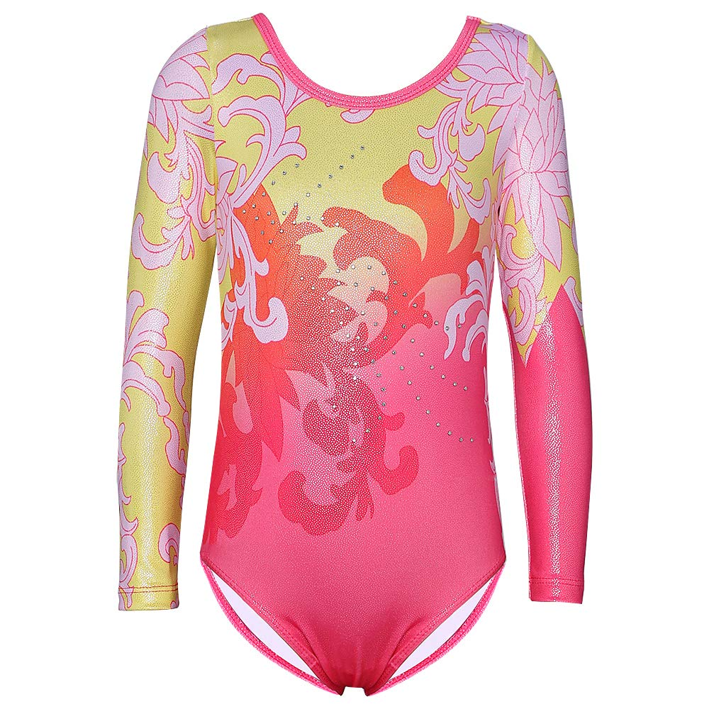 Gymnastics Leotard for Girls Stripe Starry Sky Long Sleeves Athletic Unitard for Little Girls 2-15 Years (A-Hotpink, 120(4-5Y)) by DAXIANG