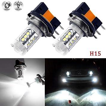 SUPAREE Bombillas LED H15 para Coche, 80W 360 Grados 12V 6000K Repuesto para Luces antiniebla