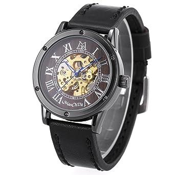 Cool Steampunk Fashion Male Mechanical Wristwatch Dress Men Watch Top Brand Luxury Automatic Skeleton Watch Black Leather Band Mechanical Watches