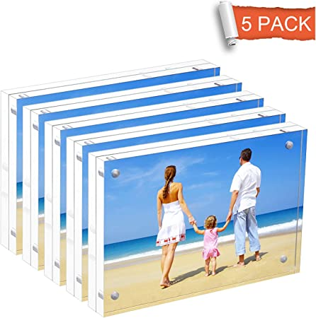 NIUBEE Set of 2 Acrylic Magnetic Picture Frame 5x7 inches Clear Plastic Photo Frames 5 x 7 with Magnets for Desk Tabletop Display
