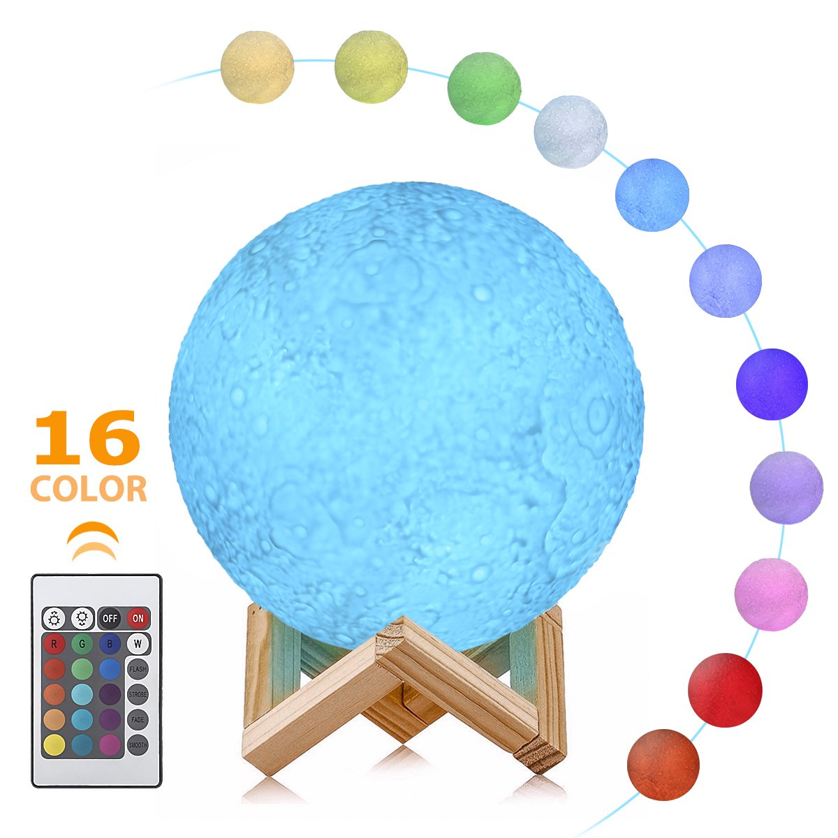 Moon Lamp - 3D LED Moon Light, 16 Colors Hangable Moon Night Light with Stand, USB Rechargeable Decorative Night Light with Remote Control for Kids, Lovers Gift by Smart&green Lighting