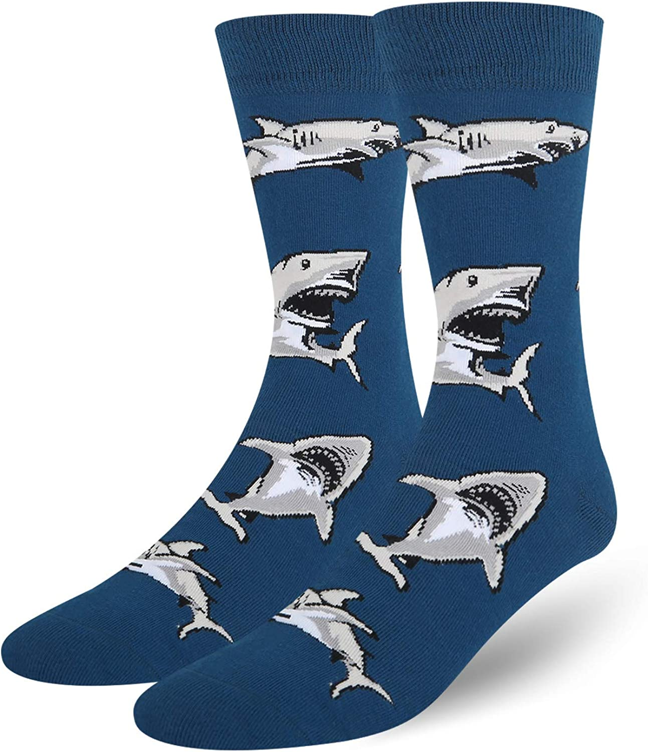 HAPPYPOP Men's Shark Whale Narwhal Socks Funny Crazy Novelty Crew Animal Pattern Socks