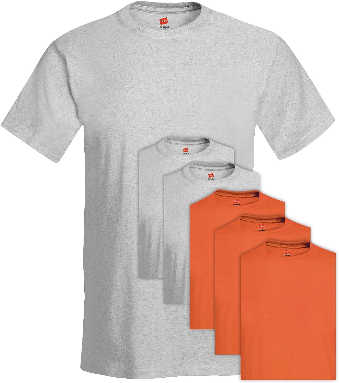 Hanes 5280 Comfortsoft Mens 6 Pack Crew Neck Tee 2X-Large 3 Ash 3 Orange