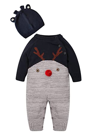 c0186b26b3 ZOEREA Neugeborenes Baby Mädchen Junge Strick Strampler Watte Weihnachten  warme Pullover mit Hut Elch Hirsche Clown