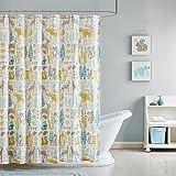 "INK+IVY Kids II70-646 Woodland Cotton Shower Curtain, 72 x 72"", Aqua"