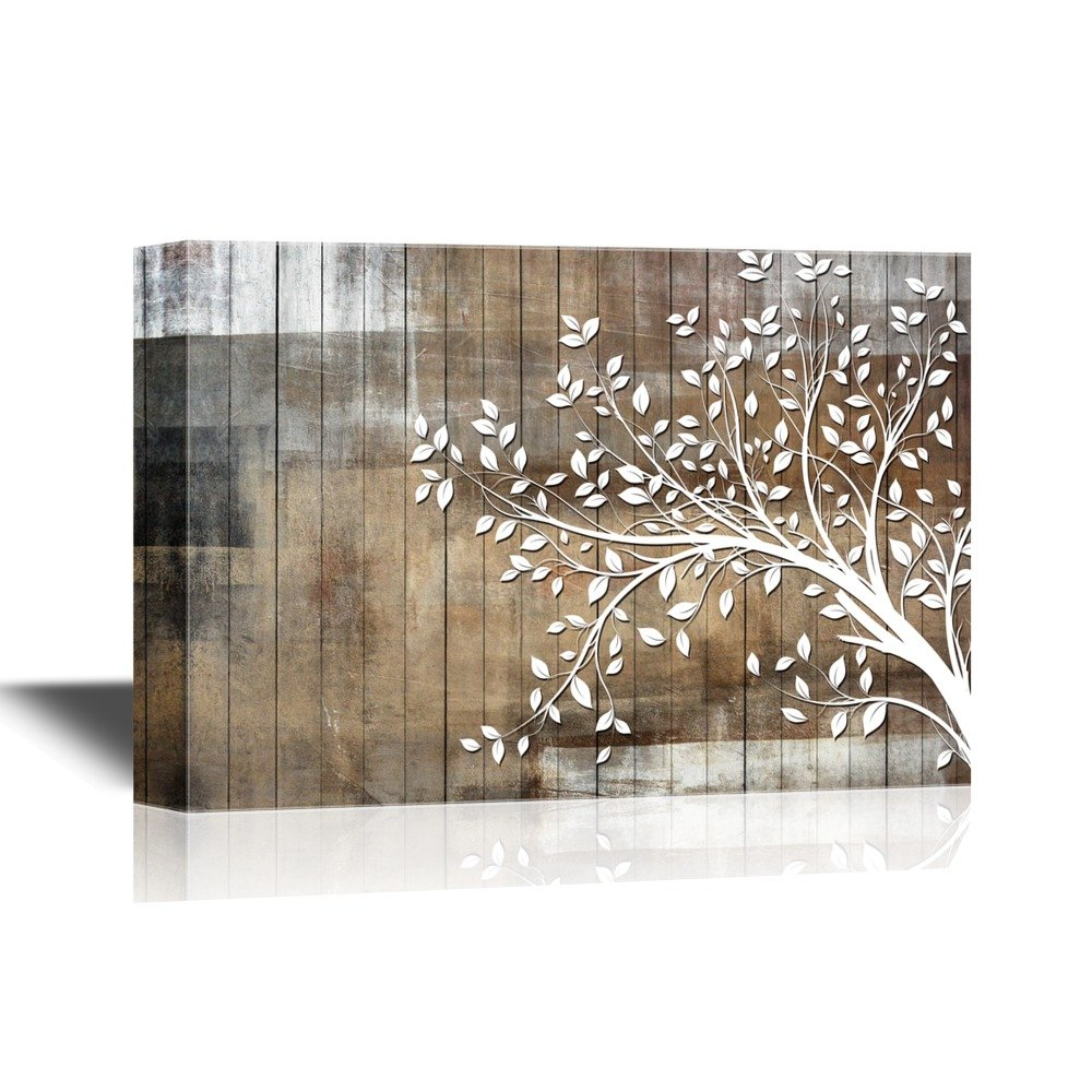 wall26 Abstract Tree Canvas Wall Art - White Tree Branch with Leaves on Wood Style Background - Gallery Wrap Modern Home Decor | Ready to Hang - 24x36 inches