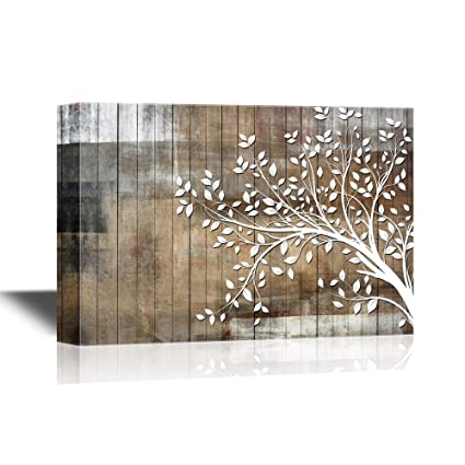 Wall26 Abstract Tree Canvas Wall Art White Tree Branch With Leaves On Wood Style Background Gallery Wrap Modern Home Decor Ready To Hang 24x36