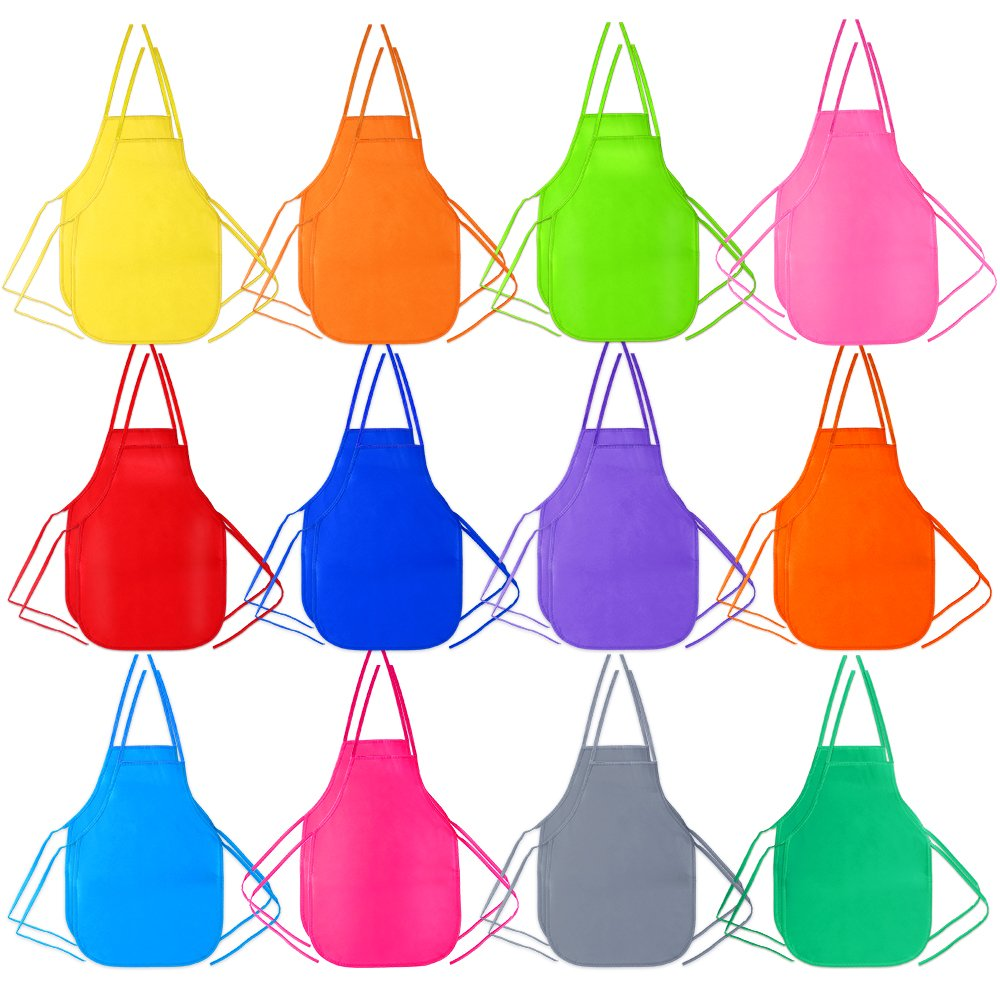 Pllieay 24 Pieces 12 Colors Kids Artist Apron for Classroom, Kitchen, Crafts or Art Painting Activity, Community Event