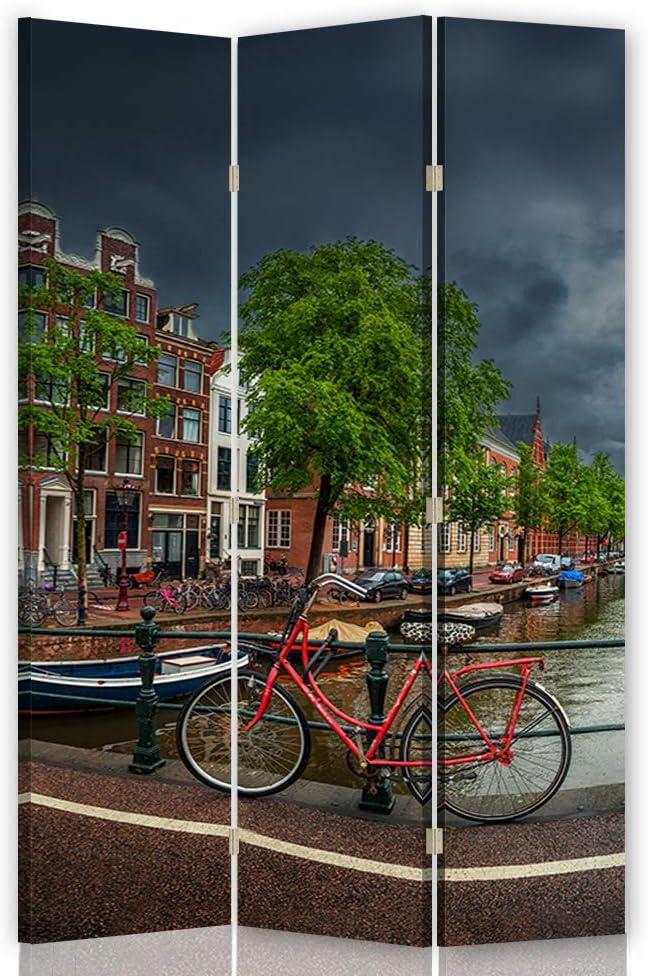 Feeby Biombo Decorativo Amsterdam 3 Paneles 360° Bicicleta Paisaje ...