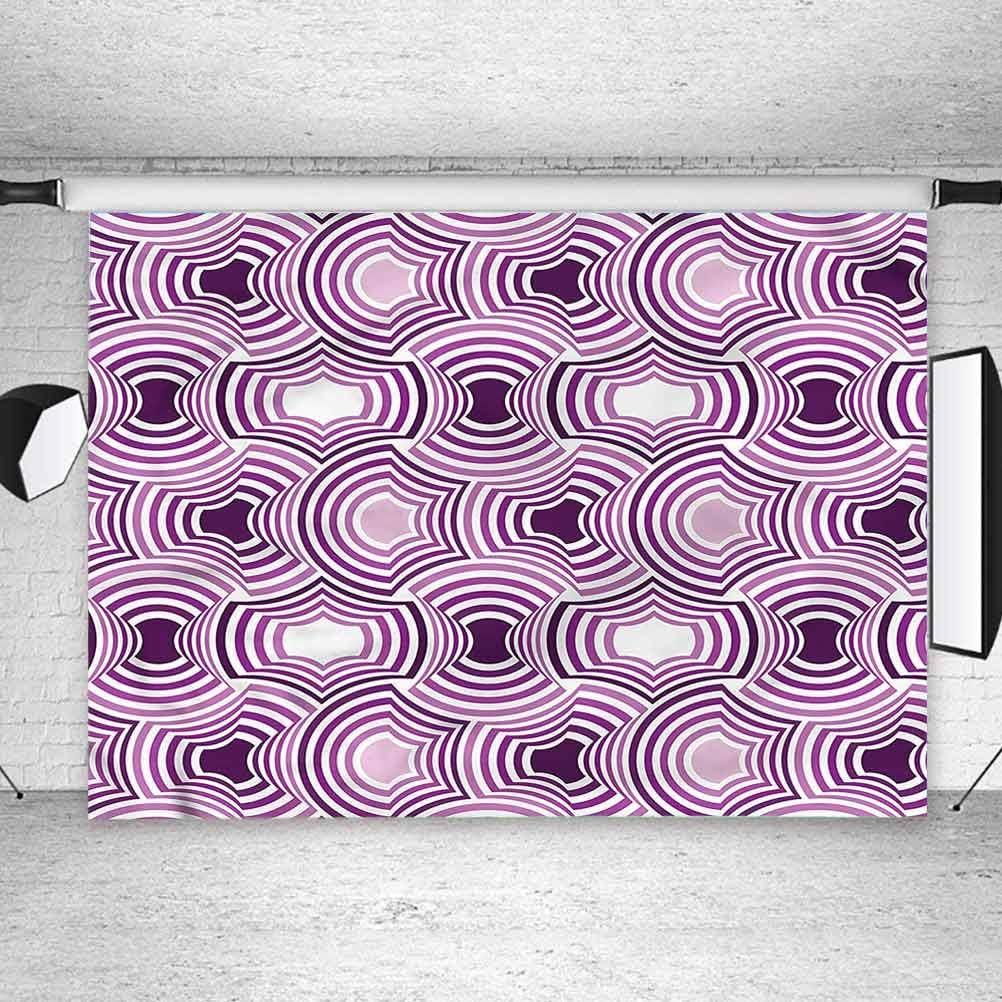 8x8FT Vinyl Photography Backdrop,Violet,Geometric Shape Curve Line Photoshoot Props Photo Background Studio Prop