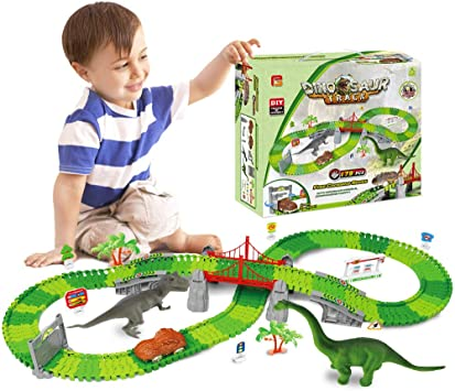VCOSTORE Coche de Pista de Carreras de Dinosaurios 181 Piezas de Juego de v/ías de Tren Flexible con Dinosaurio para 3 a/ños en adelante