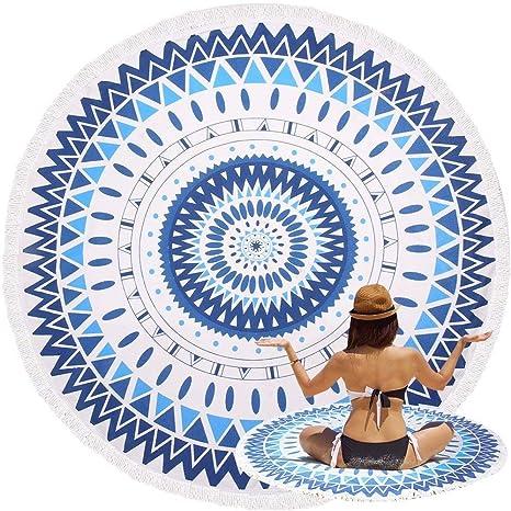Mandala Ronda toalla de playa con flecos, oummit Super suave microfibra Roundie Beach manta tapestry