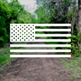 American US Flag [Pick Color/Size] Vinyl Decal Sticker for Laptop/Car/Truck/Jeep/Window/Bumper (10in x 5.5in, White)