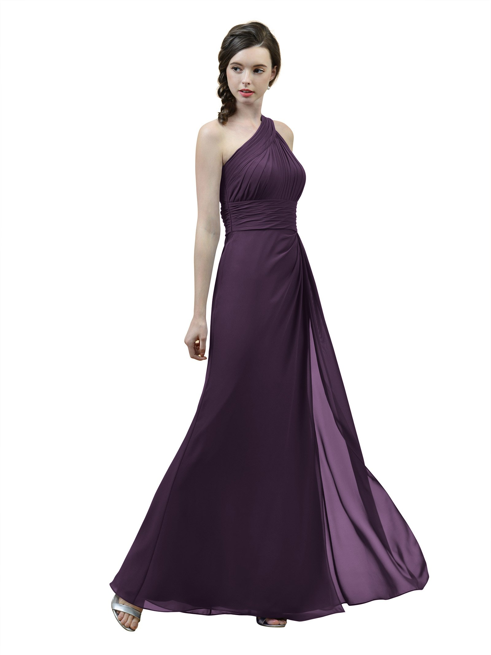9c5a099a38f Alicepub Long Pleated Chiffon Bridesmaid Dress One Shoulder Formal Party  Evening Prom Gown for Women