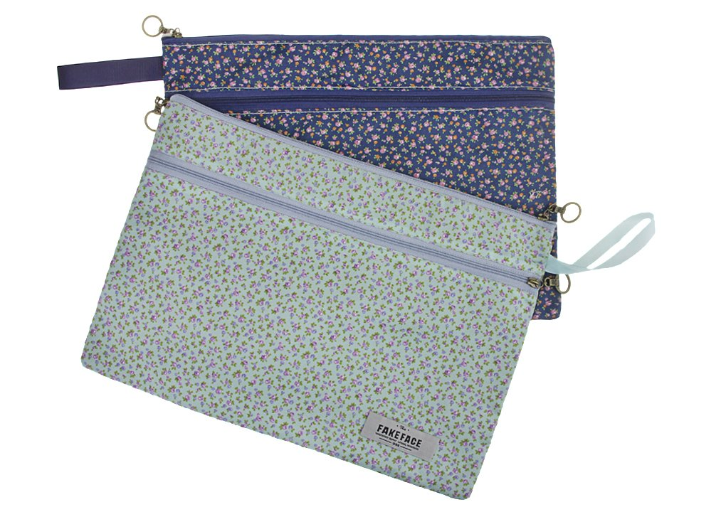 2confezione con cerniera A4file Pocket–Carta documento cartella portadocumenti con organizer busta Sleeve borsa robusta in tessuto, floreale retro pattern LY