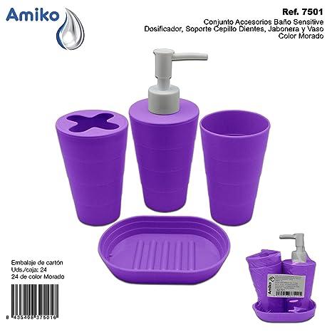 Amiko Conjunto Accesorios Baño Sensitive Morado (Dosificador, Soporte Cepillo Dientes, Jabonera y Vaso