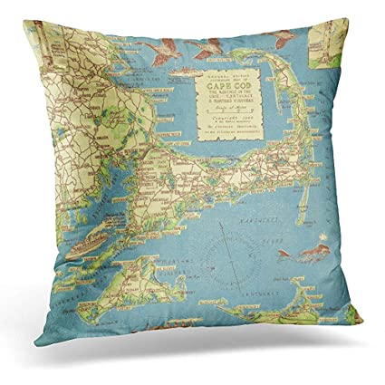 Amazon Throw Pillow Cover Nostalgic Vintage Cape Cod Map Old Amazing Cape Cod Decorative Pillows