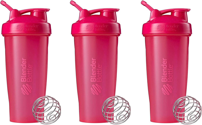 BlenderBottle Classic Loop Top Shaker Bottle 3-Pack, 28 oz (Pink)