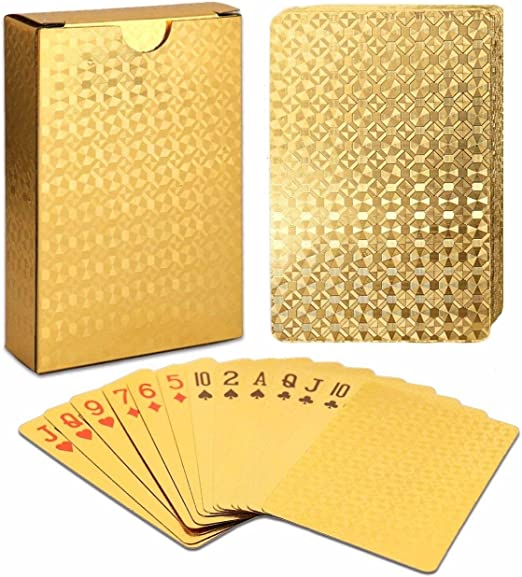 Amazon.com: EAY Gold Playing Cards Deck of Cards 24K Gold Diamond Foil Poker Cards Waterproof Playing Cards Plastic Playing Cards: Toys & Games