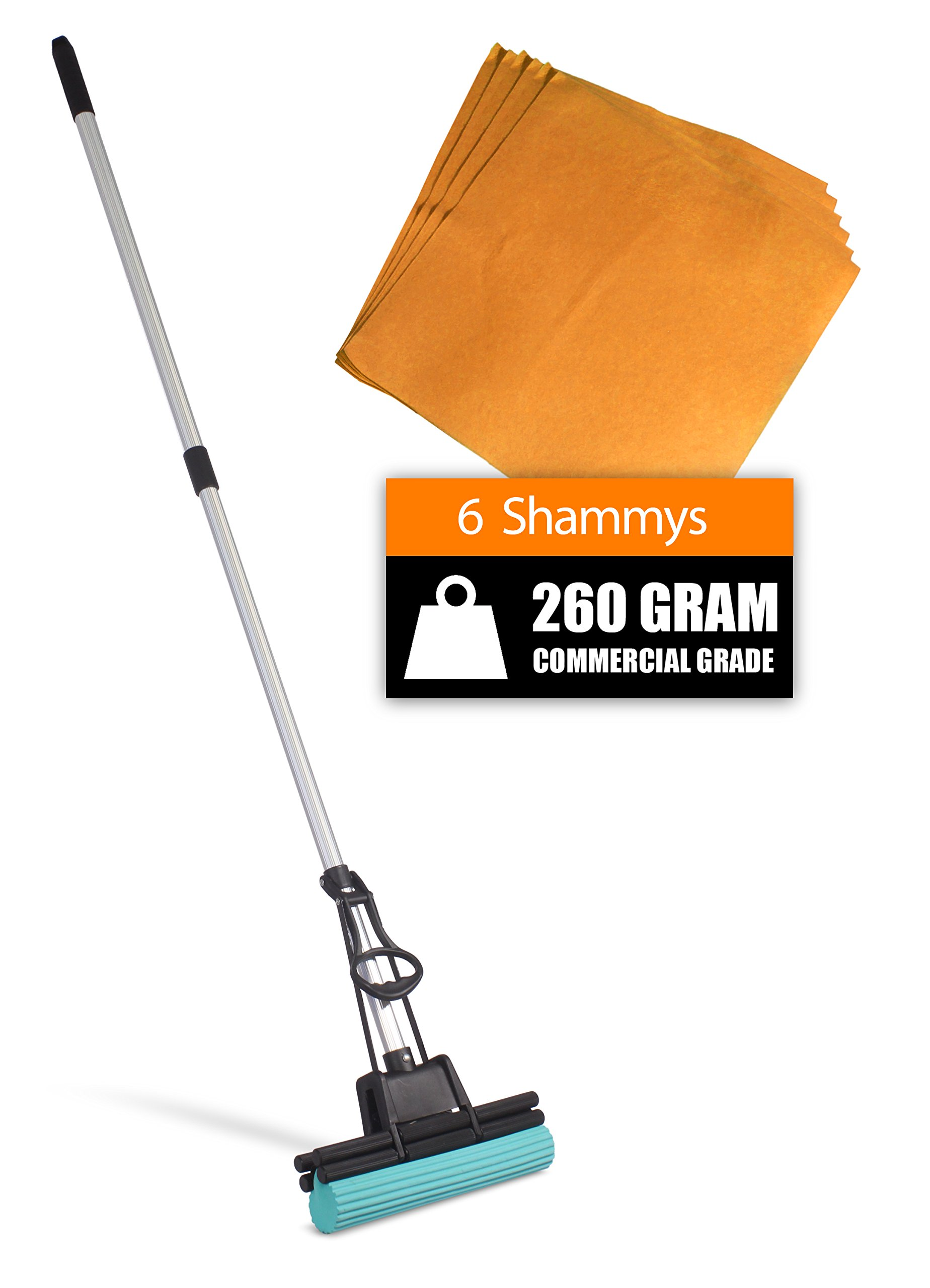 PVA Professional Double Roller Ultra Foam Rubber Mop Cleaning Kit (PVA Mop - 6x Commercial Shammys)
