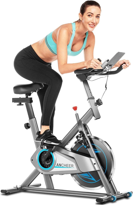 ANCHEER Bicicleta de Spinning, Bici estática Indoor de Fitness de Volante de Inercia de 10 kg, Bicicletas de Ejercicio App Conexión, Pantalla LCD y Resistencia/Sillin Ajustable para Ejercicio en Casa