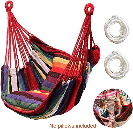 Hammock Chair Hanging Rope Swing Seat for Indoor Outdoor, Sturdy Cotton Weave Hammock Swing, Max 300Lbs Hanging Hammock Chair for Bedroom Patio Porch Rainbow