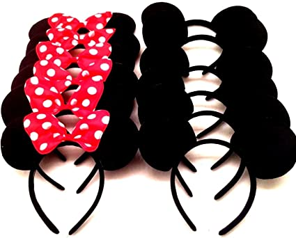 16 pcs Minnie Mickey Mouse Ears Headbands Black Red Polka Dot Bow Party Favors