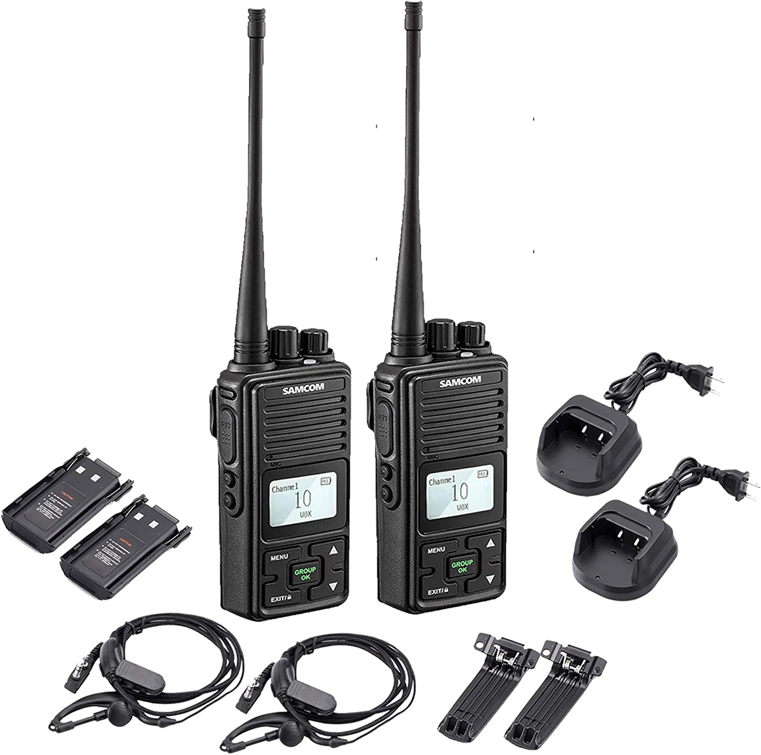 SAMCOM 20 Channel Walkie Talkie Wireless Intercom with Group Button, 2 Way Radio UHF 400-470MHz with 2.5 Miles Range, Earpiece Belt Clip Included – Black