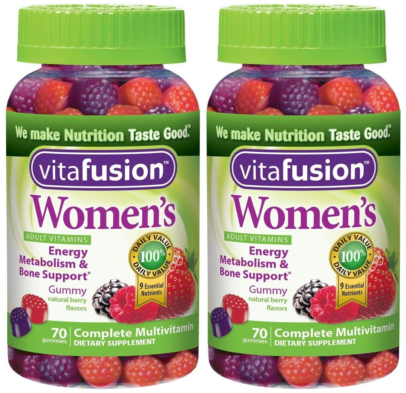 Vitafusion Women s Gummy Vitamins, Natural Berry Flavors, 70 Count Pack of 2
