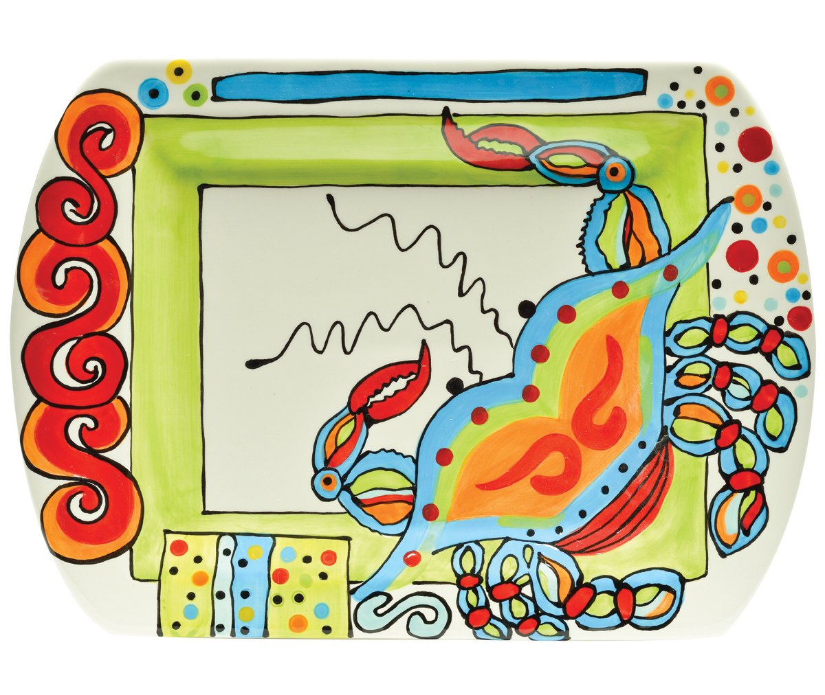 Ceramic crab inspired multicolor rectangular platter by Dana Wittmann