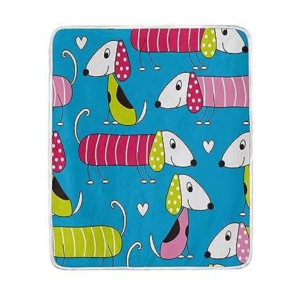 ALAZA decoración del hogar colorido de dibujos animados de perro salchicha perro manta mantas para cama